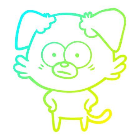 cold gradient line drawing of a nervous dog cartoon Иллюстрация