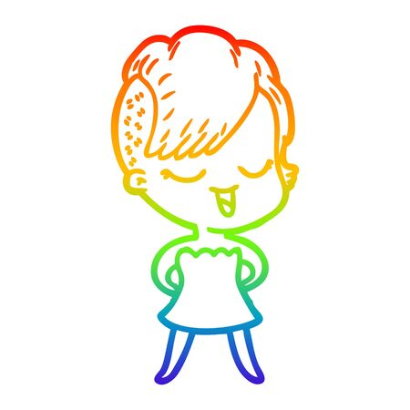 rainbow gradient line drawing of a happy cartoon girl in cocktail dress