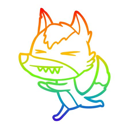 rainbow gradient line drawing of a angry wolf running