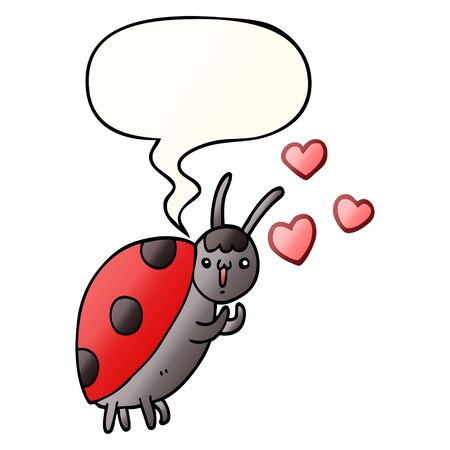 cute cartoon ladybug in love with speech bubble in smooth gradient style