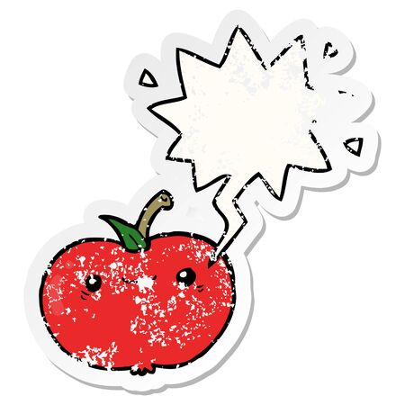 cartoon apple with speech bubble distressed distressed old sticker Ilustrace