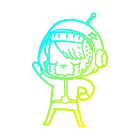 cold gradient line drawing of a cartoon crying astronaut girl  イラスト・ベクター素材
