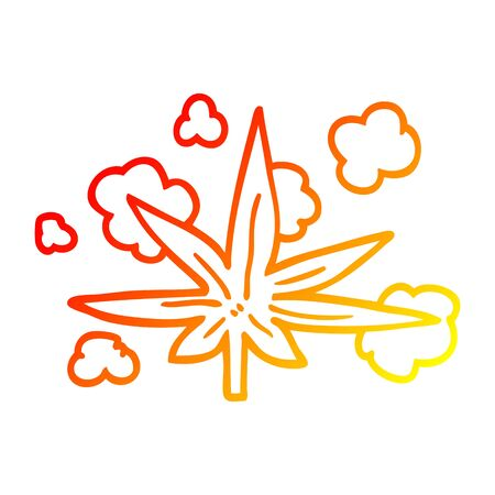 warm gradient line drawing of a cartoon marijuana leaf