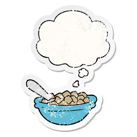 cartoon cereal bowl with thought bubble as a distressed worn sticker