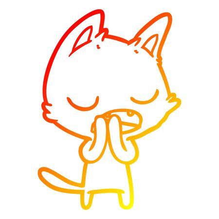 warm gradient line drawing of a talking cat cartoon Çizim