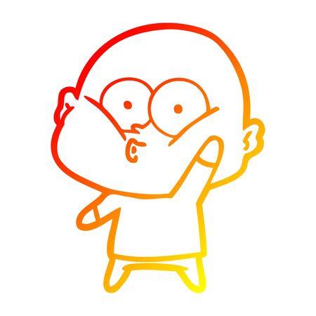 warm gradient line drawing of a cartoon bald man staring