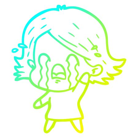 cold gradient line drawing of a cartoon woman crying  イラスト・ベクター素材