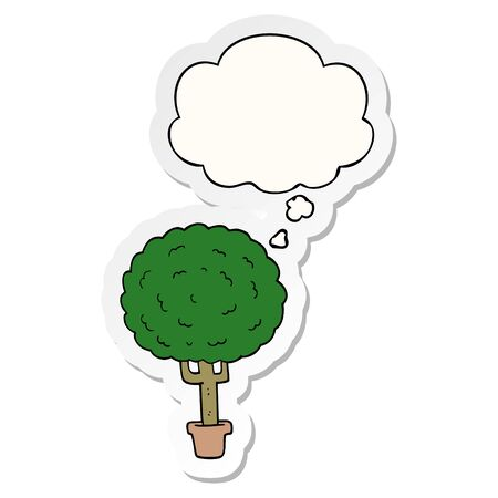 cartoon tree with thought bubble as a printed sticker Ilustrace