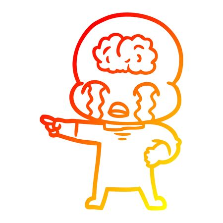 warm gradient line drawing of a cartoon big brain alien crying and pointing
