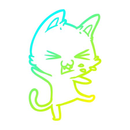 cold gradient line drawing of a cartoon cat throwing a tantrum