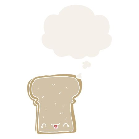 cute cartoon slice of bread with thought bubble in retro style