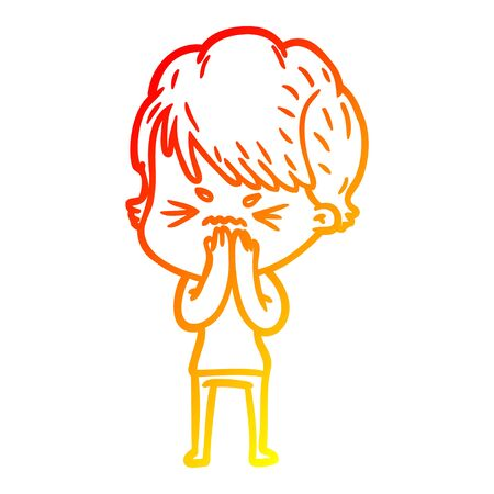 warm gradient line drawing of a cartoon frustrated woman