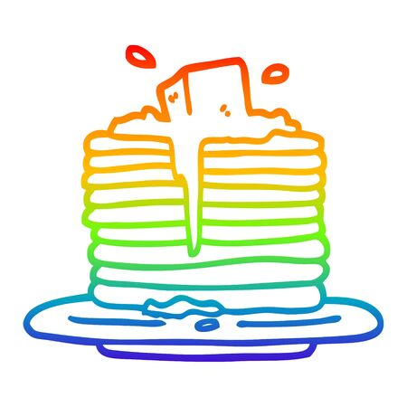 rainbow gradient line drawing of a cartoon butter melting on pancakes