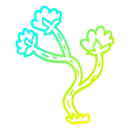 cold gradient line drawing of a cartoon wildflower