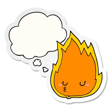 cute cartoon fire with thought bubble as a printed sticker Ilustrace