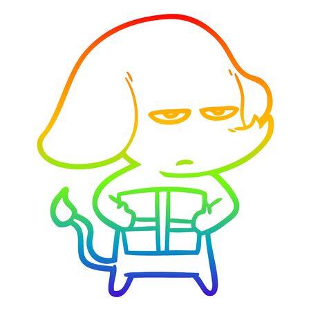 rainbow gradient line drawing of a annoyed cartoon elephant 일러스트