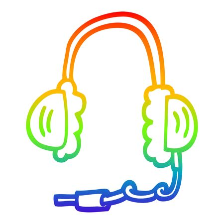 rainbow gradient line drawing of a cartoon ear phones