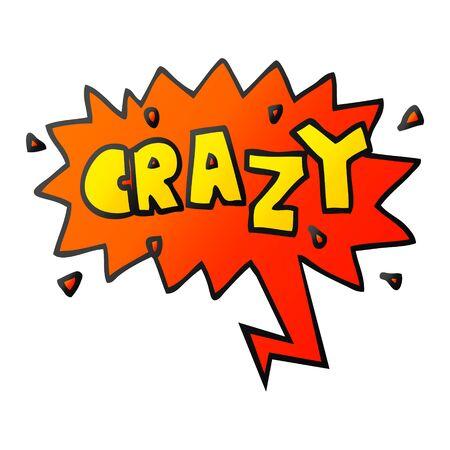 cartoon word crazy with speech bubble in smooth gradient style Banco de Imagens - 129855211