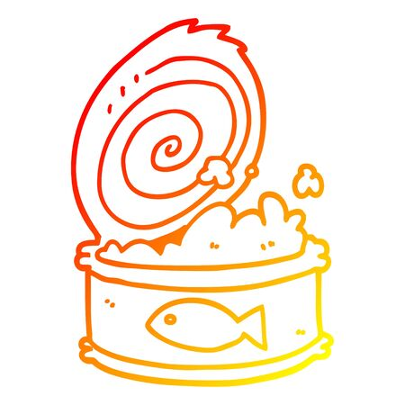 warm gradient line drawing of a cartoon canned food Ilustração