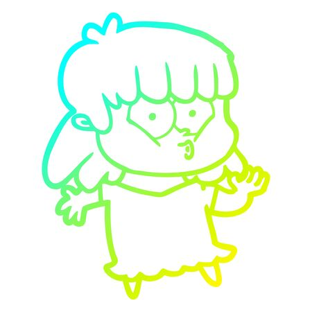 cold gradient line drawing of a cartoon whistling girl Illusztráció