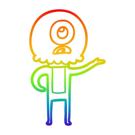 rainbow gradient line drawing of a cartoon cyclops alien spaceman explaining