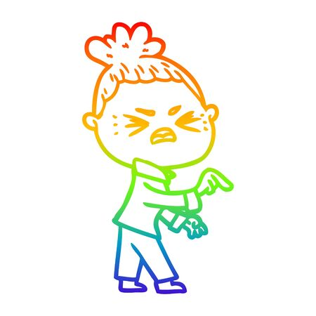 rainbow gradient line drawing of a cartoon angry woman