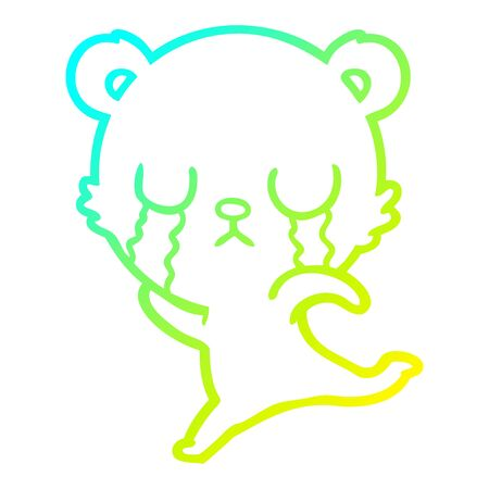 cold gradient line drawing of a crying cartoon bear running away  イラスト・ベクター素材