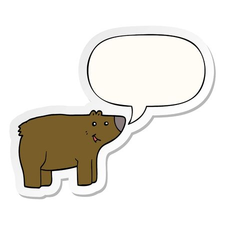 cartoon bear with speech bubble sticker