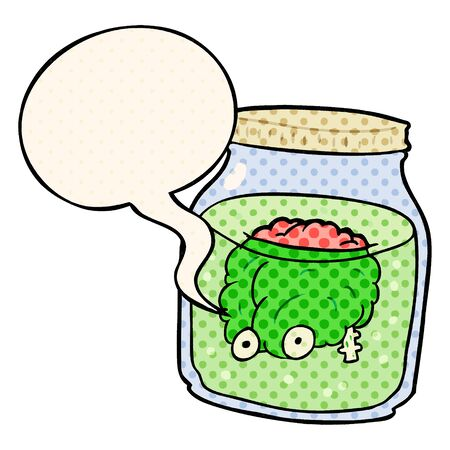 cartoon spooky brain floating in jar with speech bubble in comic book style Çizim