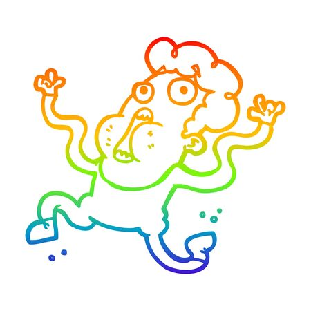 rainbow gradient line drawing of a cartoon terrified man