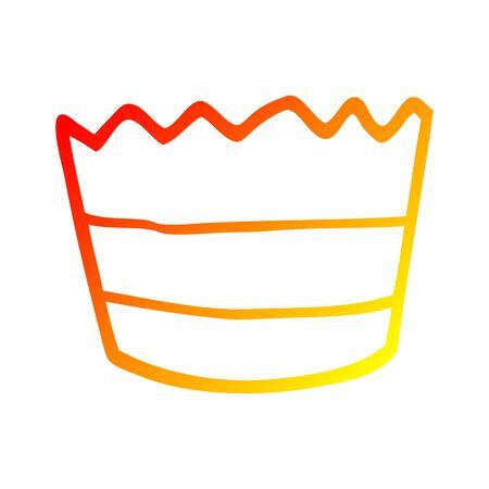 warm gradient line drawing of a cartoon muffin pot