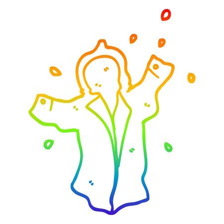rainbow gradient line drawing of a cartoon wet rain coat