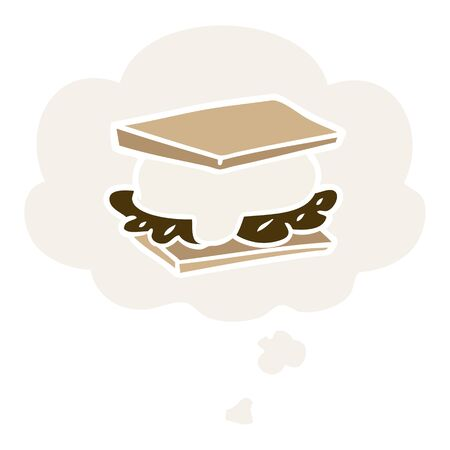 smore cartoon with thought bubble in retro style 일러스트