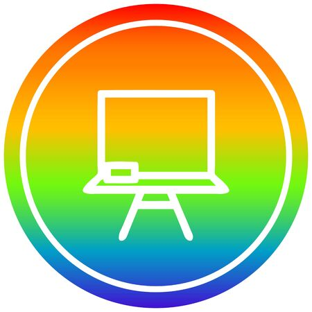 school blackboard circular icon with rainbow gradient finish 向量圖像