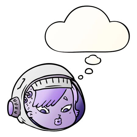 cartoon astronaut face with thought bubble in smooth gradient style