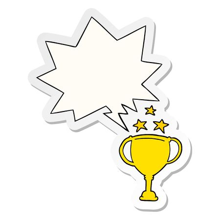 cartoon sports trophy with speech bubble sticker