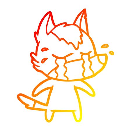 warm gradient line drawing of a cartoon crying wolf