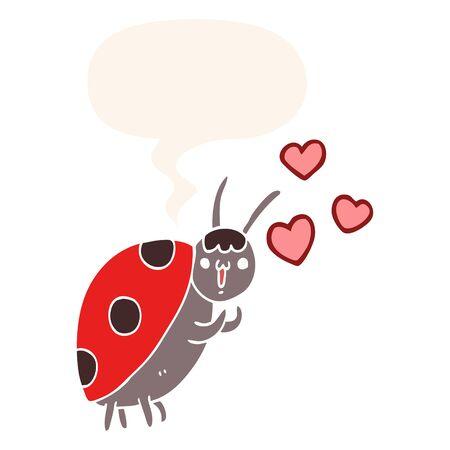 cute cartoon ladybug in love with speech bubble in retro style Ilustracja