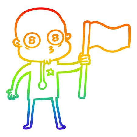 rainbow gradient line drawing of a cartoon weird bald spaceman with flag