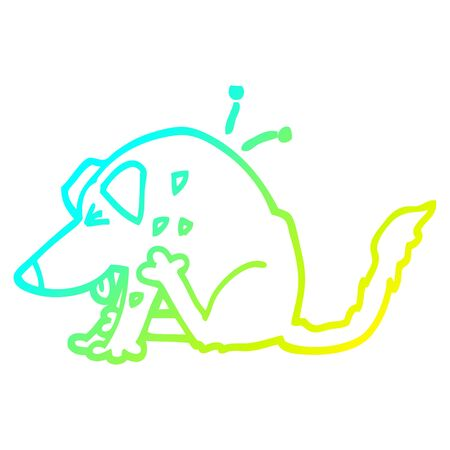 cold gradient line drawing of a cartoon dog scratching
