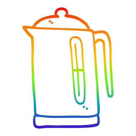 rainbow gradient line drawing of a cartoon kettle