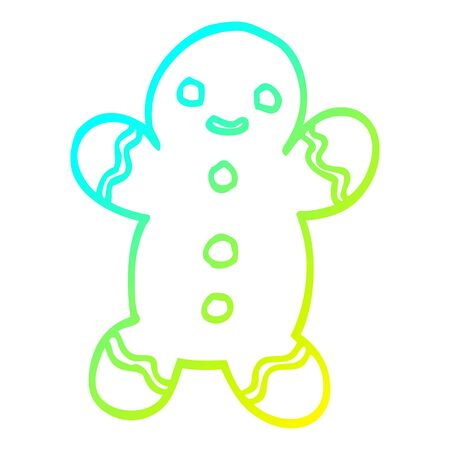cold gradient line drawing of a cartoon gingerbread man Illustration