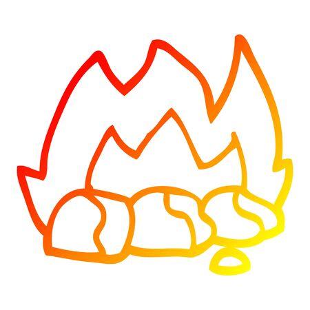 warm gradient line drawing of a cartoon burning coals