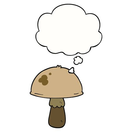 cartoon mushroom with thought bubble Stock Illustratie