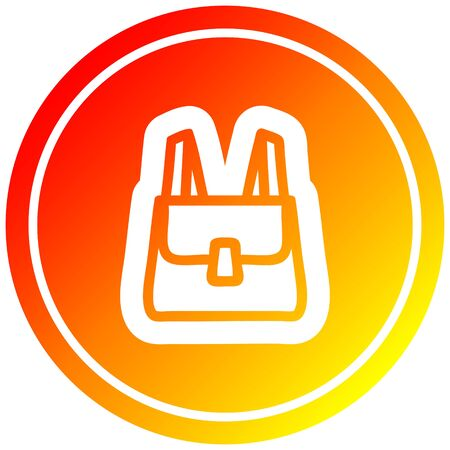 school satchel circular icon with warm gradient finish Zdjęcie Seryjne - 129873583