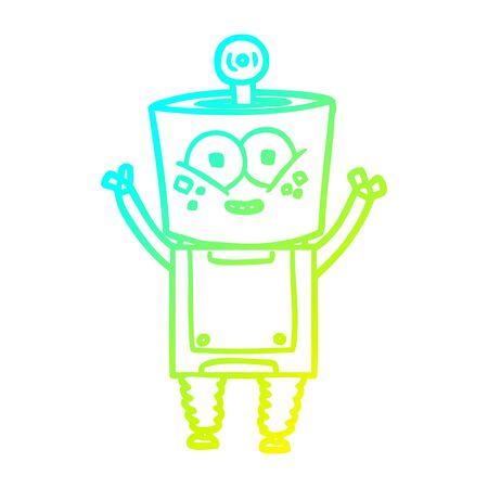 cold gradient line drawing of a happy cartoon robot waving hello Stock Illustratie