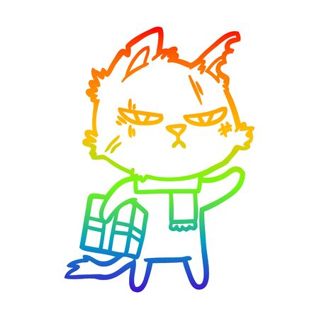 rainbow gradient line drawing of a tough cartoon cat with christmas present 일러스트
