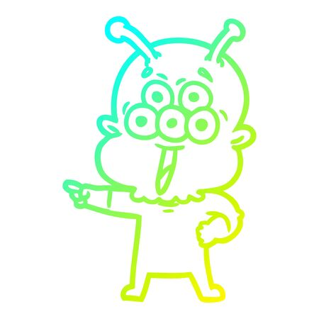 cold gradient line drawing of a happy cartoon alien pointing