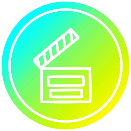 movie clapper board circular icon with cool gradient finish