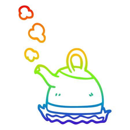 regenbooggradiëntlijntekening van een cartoonketel op fornuis